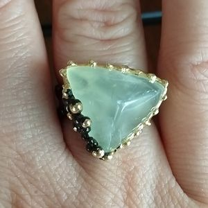 Jewelry - Natural prehnite sterling artistic ring
